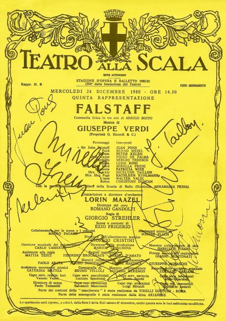 Falstaff a la Scala el 24 de Desembre de 1980, en Pau Nadal hi era.