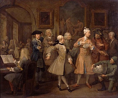 William Hogarth The Rake's Progress: 2. The Rake's Levée 1734 Oil sobre tela Sir John Soane's Museum, London