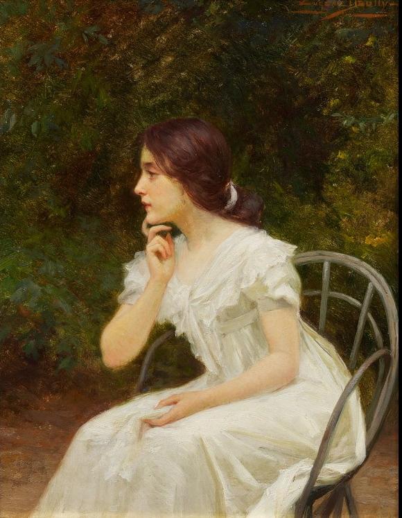 Eugene Deully Jeune fille au jardin