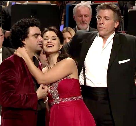 Rolandio Villazón, Olga Peretytko i Thomas Hampson a Baden Baden el 31 de desembre de 2012