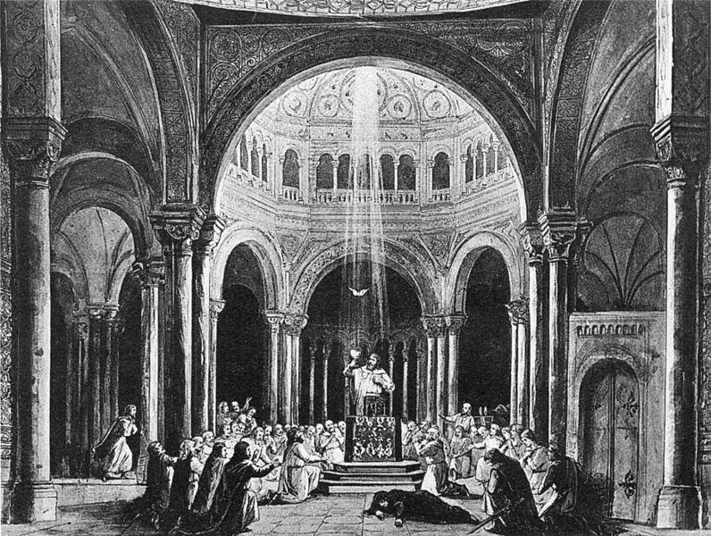 Parsifal, acte 3er, producció original de l'estrena a Bayreuth (1882)