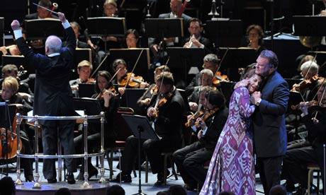PROMS 15: Die Walküre- daniel Barenboim Nina Stemme (Brünnhilde) i Bryn Terfel (Wotan) Foto Chris Christodoulou/BBC