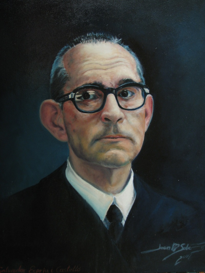 Salvador Espriu i Castellço, oli sobre tela de  J.M. Salichs