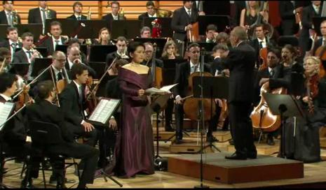 Mihoko Fujimura i Claudio Abbado el dia 16 d'agost en el concert inaugural del Festival de Lucerna 2013