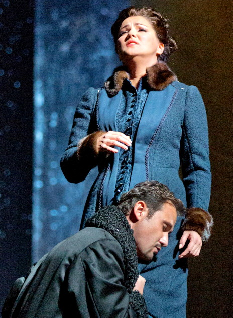 Mariusz Kwiecien (Onegin) i Anna Netrebko (Tatiana) en el 3er acte de Eugene Onegin al MET Foto: Ken Howard/Metropolitan