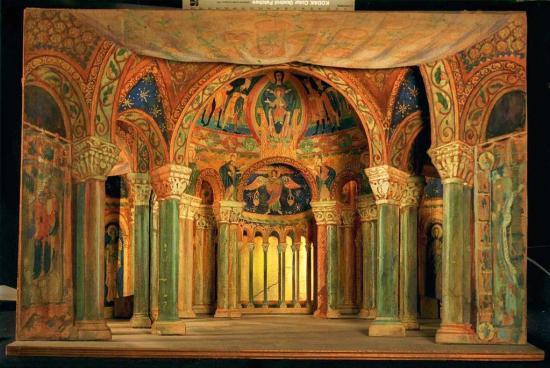 Escenografia dels actes 1er i tercer de Parsifal obra de Oleguer Junyent Sans (1876-1956) Centre de Documentació Museu de les Arts Escèniques Institut del Teatre de Barcelona, ITB, Barcelona