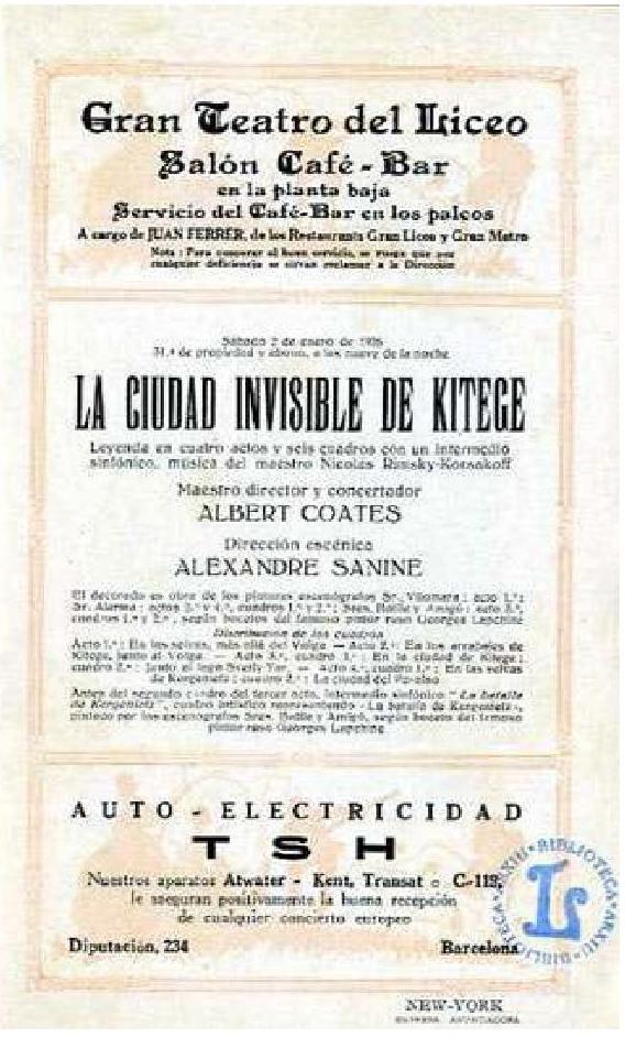Programa d el'estrena de La ciutat invisible de Kitej al Liceu (1926) gentilesa de l'arxiu del Gran Teare del Liceu