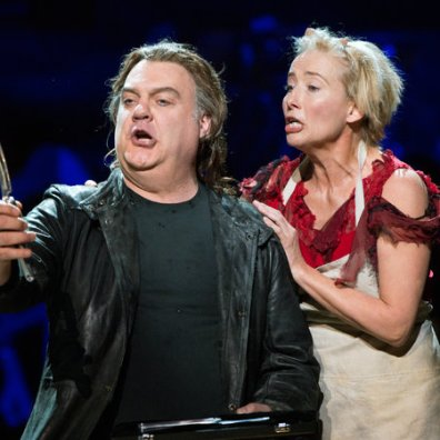 Sweeney Todd Bryn Terfel i Emma Thompson, The New York Philharmonic - Avery Fisher Hall. Sara Krulwich/The New York Times