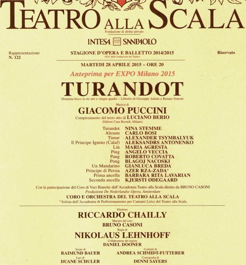 Locandina Turandot - Scala 28.4.2015