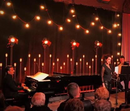 Giovanni Auletta, piano, Ángeles Blancas (soprano) i Luis González (trompeta) cantant Weill en el LIFE Victoria 2015.