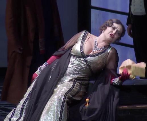 Laura Aikin (Emilia Marty) a Věc Makropulos, producció de Peter Stein Viena 2015