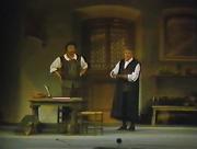 Die Meistersinger von Nürnberg Gran Teatre del Liceu 18 d'abril de 1989 Escenografia Josep Mestres Cabanes acte 3er Bernd Weikl (Hans Sachs) i Hermann Prey (Sixtus Beckmesser)