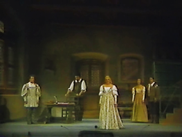Die Meistersinger von Nürnberg Gran Teatre del Liceu 18 d'abril de 1989 Escenografia Josep Mestres Cabanes acte 3er Paul Frey (Walther), Bernd Weikl (Sachs), Sue Patchell (Eva), Marga Schiml (Magdalena) i Ulrich Ress (David)