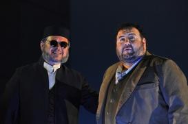 Vitalij KOwaljow (Fiesco) i Fabio Sartori )Gabriele) al Simon Boccanegra Liceu 2016 Fotografia © Antoni Bofill