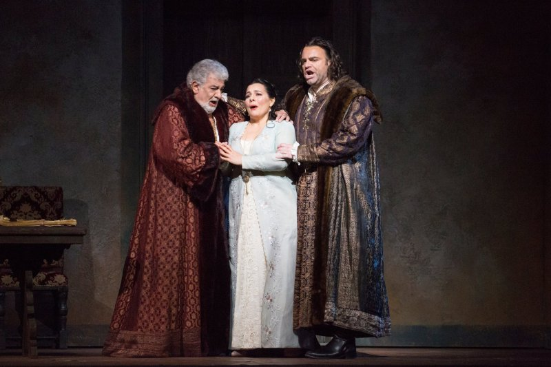 "Plácido Domingo, Lianna Haroutounian and Joseph Calleja in Verdi's ""Simon Boccanegra"" at the Metropolitan Opera. SARA KRULWICH / THE NEW YORK TIMES"