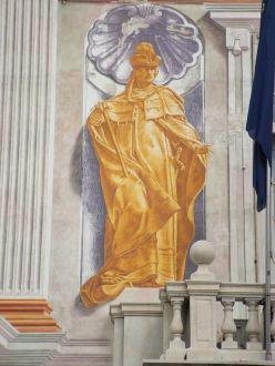 Possible imatge de Simon Boccanegra, primer Doge perpetuo del la República de Génova (segle XIV ); Tot i que alguns diuen que es tracta de de  Guglielmo Boccanegra, avi de Simon,