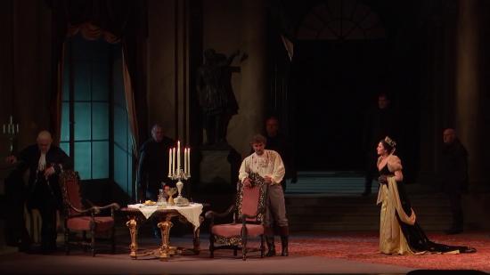 Terfel, Kaufmann i Gheorghiu al segon acte de Tosca, `Staatssoper de Viena 16 d'abril de 2016