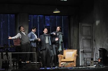 Isaac Galan, Gabriel Bermúdez, Saimur Pirgu i Fernando Radó a La Bohème Liceu. Producció Jonathan Miller Fotografia © Antoni Bofill