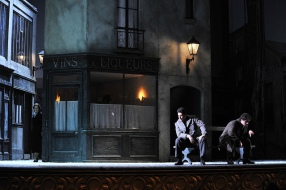 Eleonora Buratto, Saimur Pirgu i Gabriel Bermúdez a l'acte 3er de La Bohème (Leiceu-Fotografia © Antoni Bofill)