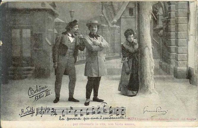 1896. Premiere de La Boheme a Torino, Teatro Regio. Tieste Wilmant, Evan Gorga and Cesira Ferrani