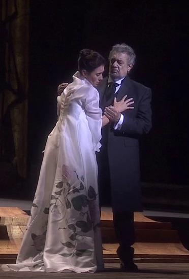 Ermonela Jaho (Violetta) i Plácido Domingo (Giorgio Germont) a La Traviata a Orange 2016