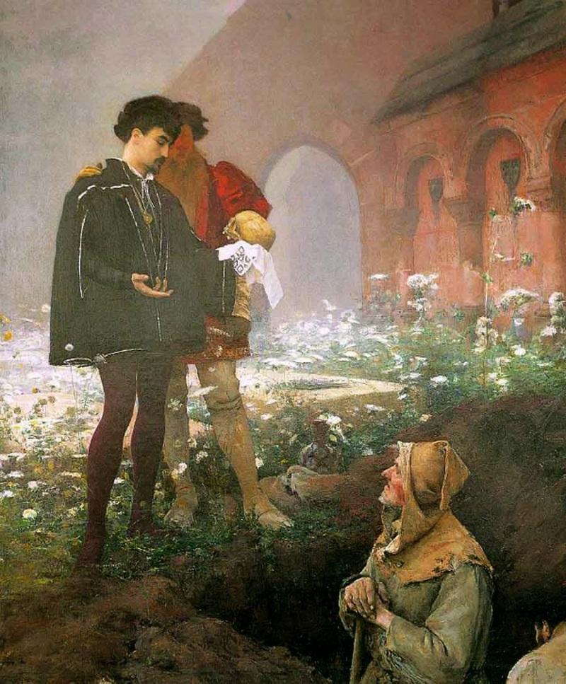 Pascal-Adolphe-Jean Dagnan-Bouveret (7 de gener de 1852 – 3 de juliol de 1929) Hamlet i l'enterrador (1883)