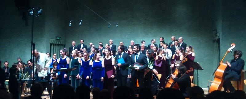 Òscar Boada, Solistes del Cor Vivaldi, Joann Francesc Folquè i Néstor Pindado, amb el Cor Vivaldi i la Coral Polifònica de Puig-Reig. Foto IFL