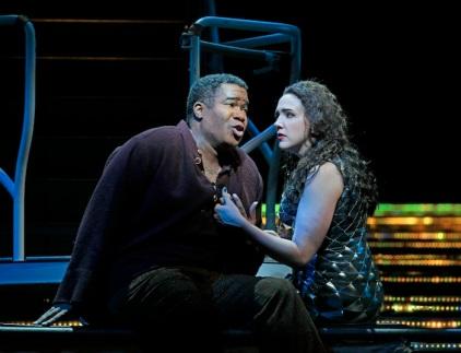 "Eric Owens and Susanna Phillips star in Kaija Saariaho's ""L'Amour de loin"" at the Metropolitan Opera. Photo: Ken Howard"