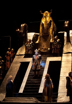 "A scene from Verdi's ""Nabucco"" with Zeljko Lucic in the title role. Photo: Marty Sohl/Metropolitan Opera Taken at the Metropolitan Opera during the rehearsal on September 23, 2011."